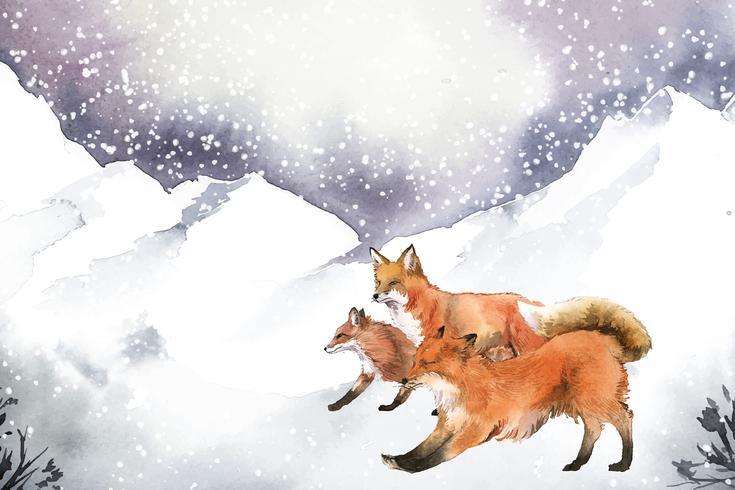 Von Hand gezeichnete Füchse, die in die Schnee-Aquarellart laufen