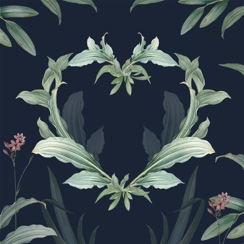 Cadre vide avec vecteur de conception de feuilles vertes