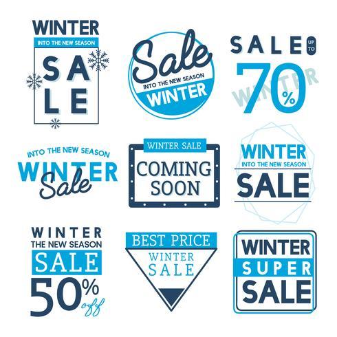 Set Winterverkaufs-Ausweisvektoren