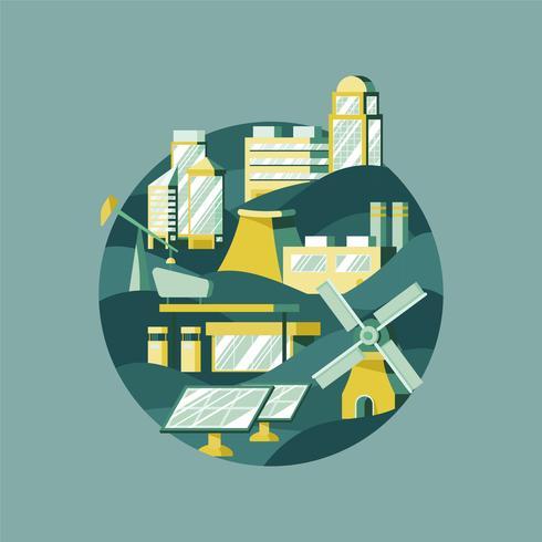 Vektor der alternativen Energie im Grün