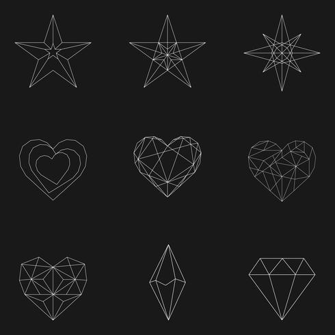 Set of linear illustration of shapes