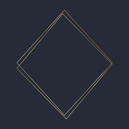 Golden square frame template vector