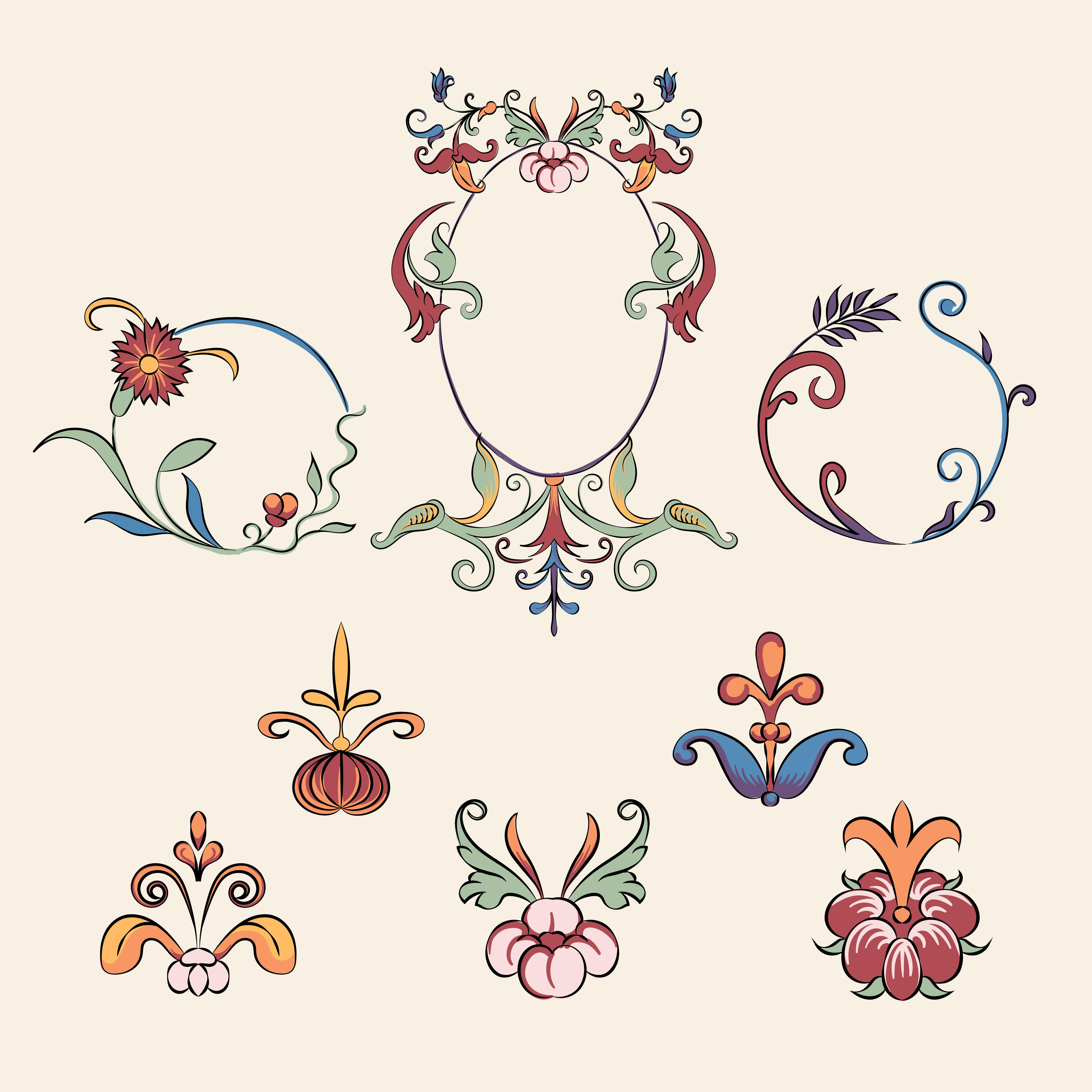 Ornamental Wedding Label Pack: Vintage Flourish Ornament Illustration Set