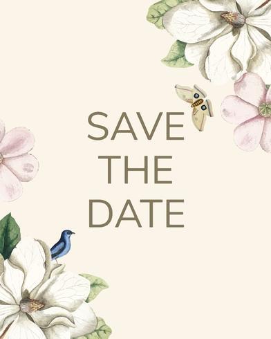 Spara datumet bröllopsinbjudan mockup vektor