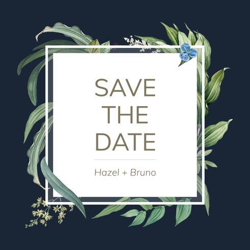 Hochzeitseinladungskarte mit grünem Blattdesignvektor