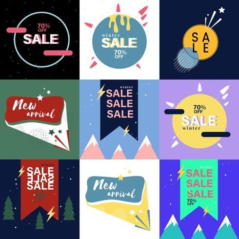 Ensemble de graphiques de publicité de vente