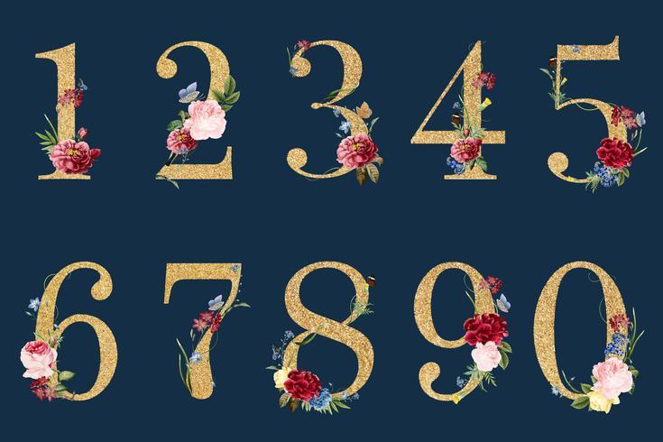 Números botânicos com ilustração de flores tropicais