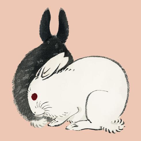 Zwart en witte konijnen door K? No Bairei (1844-1895). Digitaal verbeterd vanuit onze eigen originele uitgave uit 1913 van Bairei Gakan.