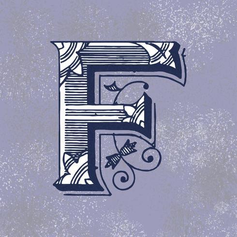 Hoofdletter F vintage typografie stijl