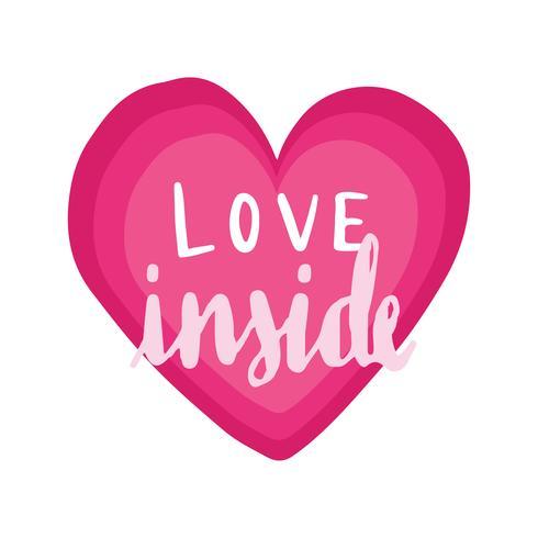Amour à l'intérieur du vecteur de typographie dans un coeur