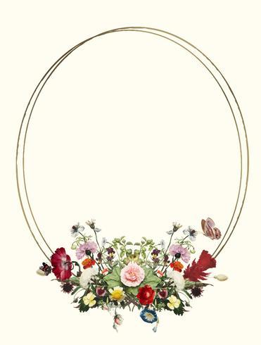 Weinleseillustration des dekorativen Blumenrahmens
