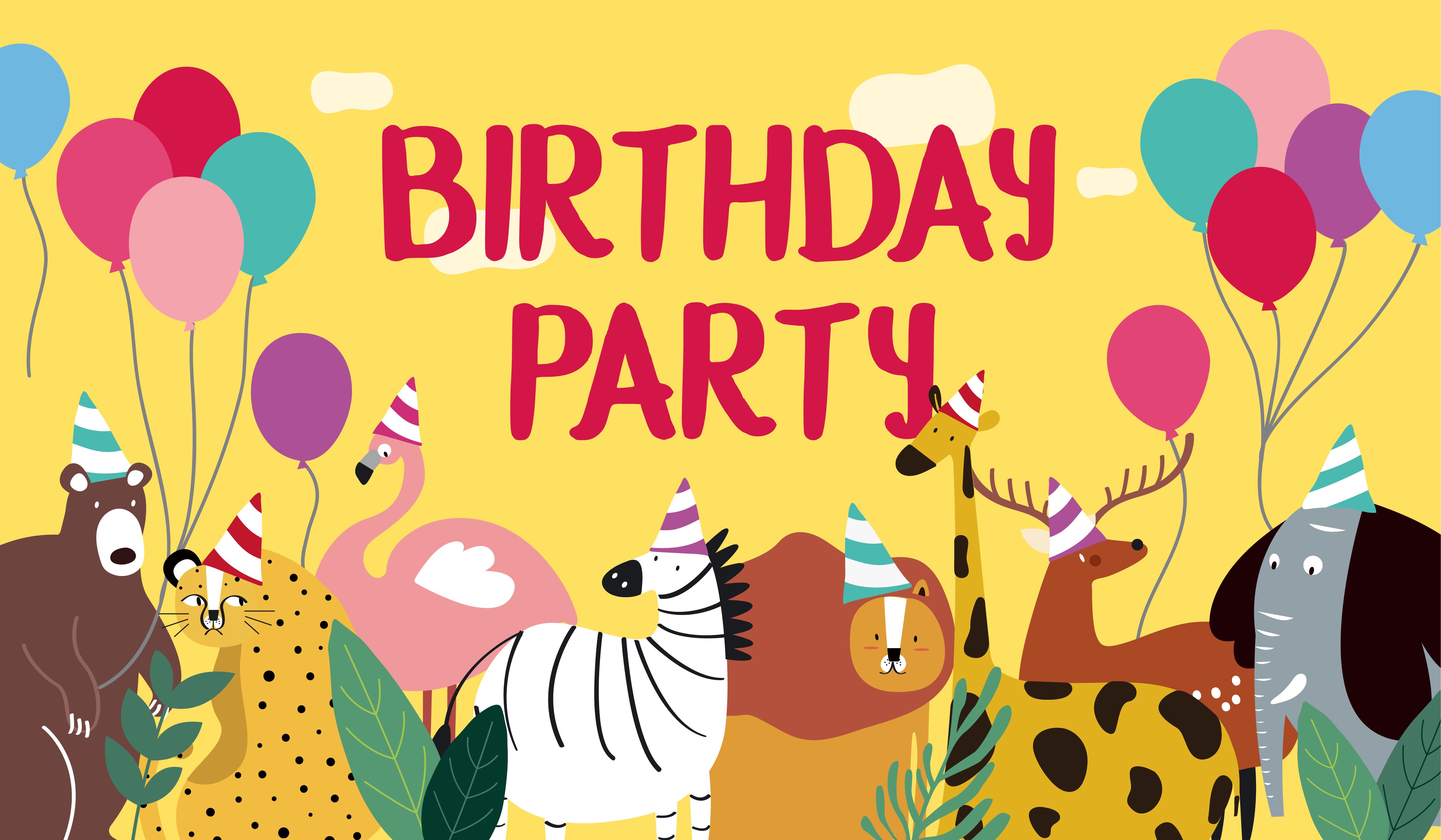 animal theme happy birthday card vector  download free