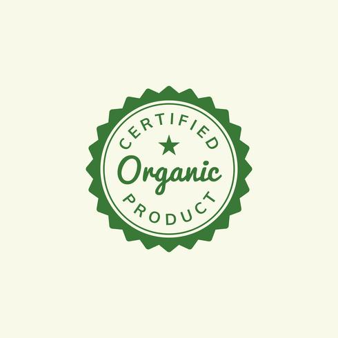 Certified organic product stamp emblem ilustration