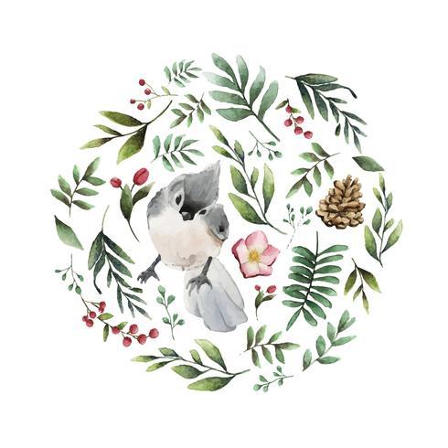 Tufted titmouse fågel omgiven av blommor och lämnar akvarellmålning vektor