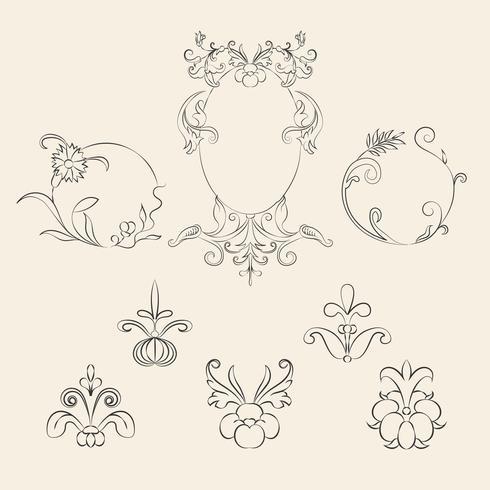 Conjunto de ilustração vintage ornamento floreio