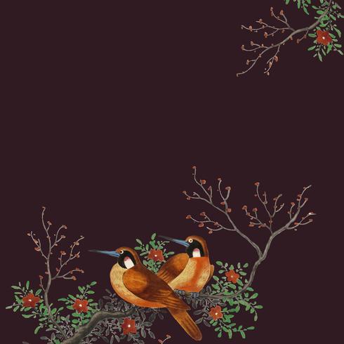 Pintura chinesa com dois pássaros em um cartão de ramo de árvore de floração