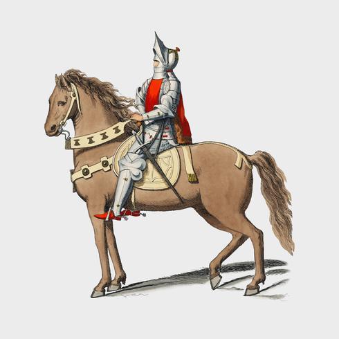Kostüm Militaire Florentin, von Paul Mercuri (1860), ein Ritterporträt mit voller Rüstung. Digital verbessert durch Rawpixel.