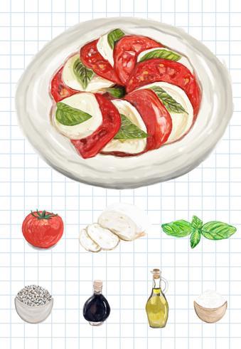 Estilo de aguarela mão desenhada caprese salada