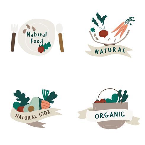 Conjunto de vetor de crachás de comida natural e orgânica