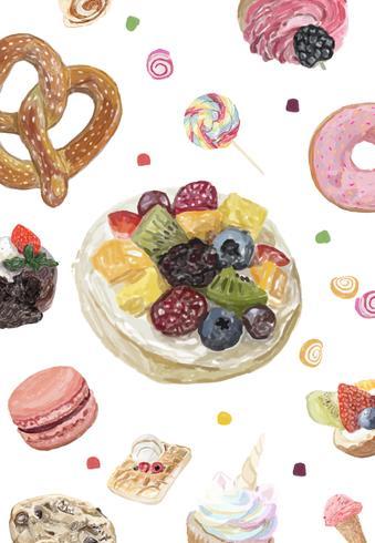 Handgezeichnete Süßigkeiten Sammlung Aquarell Stil