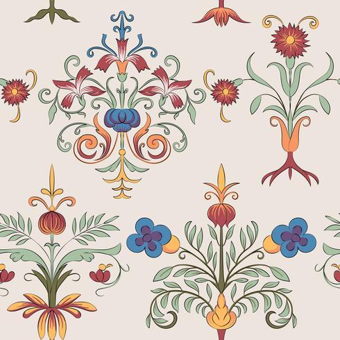 Patrón de floración vintage