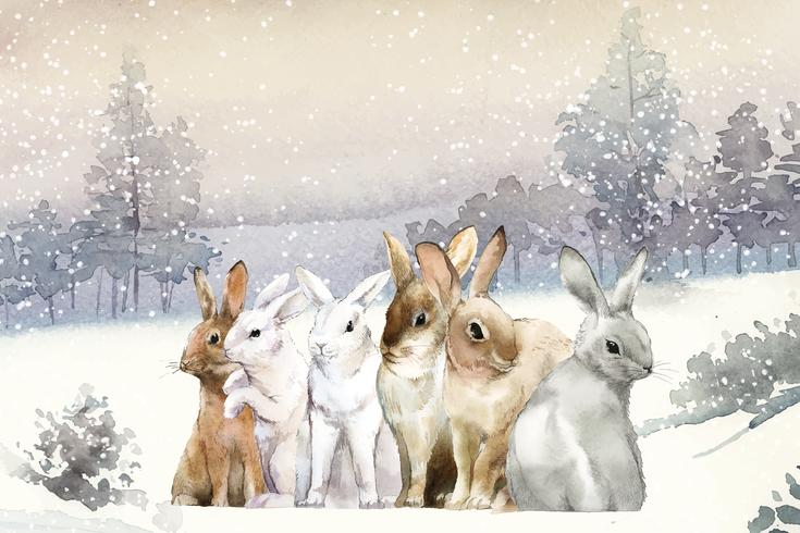 Conejos salvajes en la nieve de invierno pintado por vector de acuarela