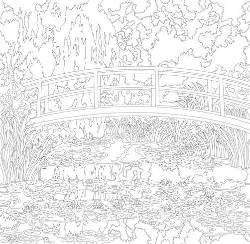 Der Seerosenteich (1899) von Claude Monet: Ausmalbilder für Erwachsene