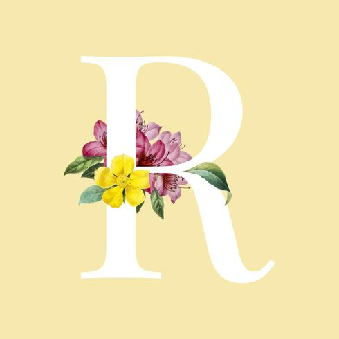 Floral styled letter R typography
