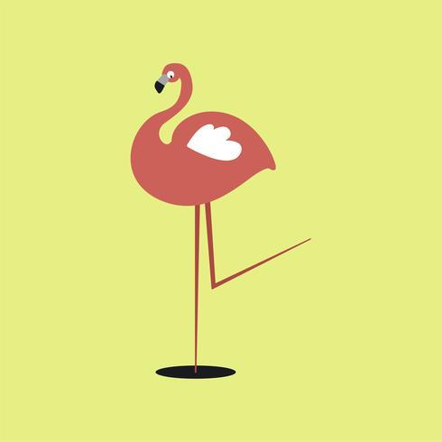 Ilustração de desenhos animados flamingo rosa selvagem bonito