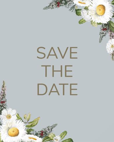 Spara datumet bröllopsinbjudan mockup kort vektor