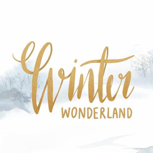 Vetor de tipografia aquarela de inverno wonderland