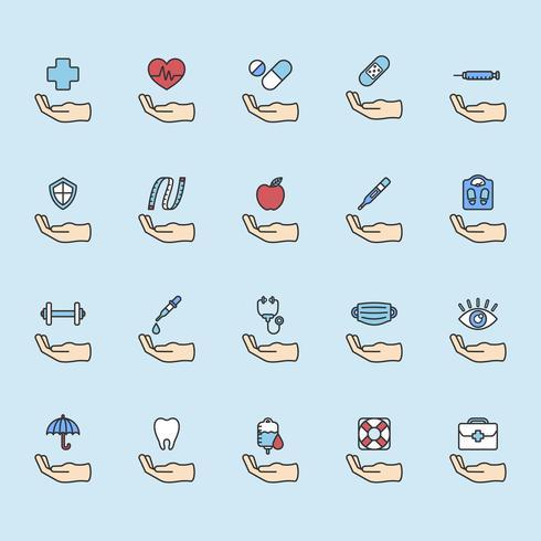 Illustration von gesunden lebenden Ikonen eingestellt