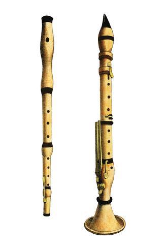Musik (1850) ha pubblicato a Copenaghen, un'illustrazione vintage di un violino, varianti di chitarra classica e flauto. Miglioramento digitale di rawpixel.