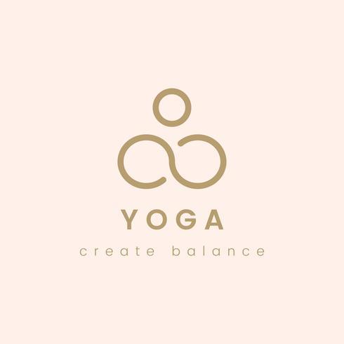 Conception du yoga créer un logo vectoriel équilibre
