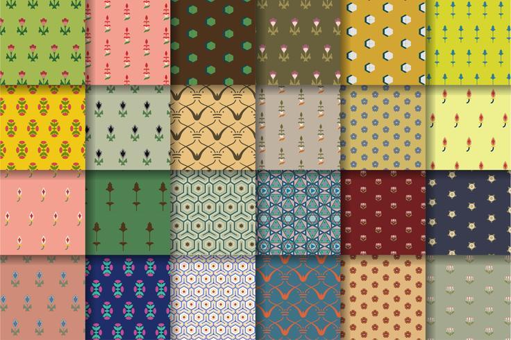 Conjunto de 24 padrões vintage inspirados na gramática do ornamento
