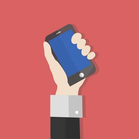 Illustrazione di una mano che tiene un telefono cellulare