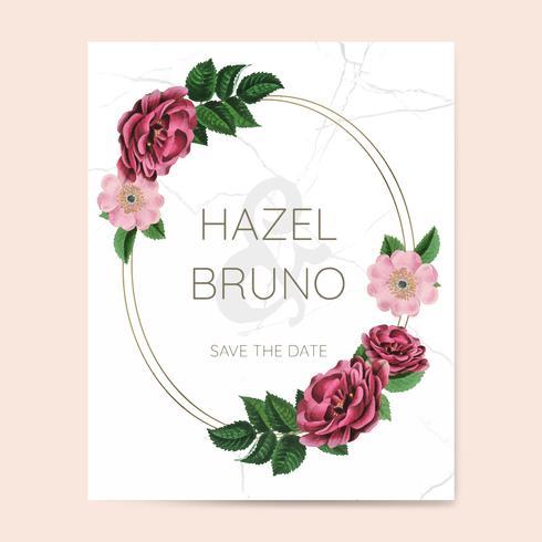 Hochzeitseinladung mit Blumenrahmendesignvektor