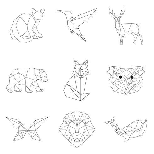 Conjunto de ilustrações lineares de animais