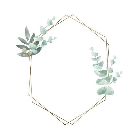 Marco geométrico con vector de hojas