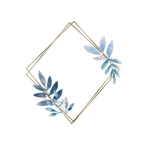 Cadre géométrique avec vecteur de feuilles