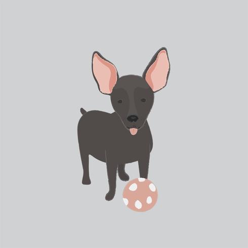 Illustrazione sveglia di un mini cane pinscher