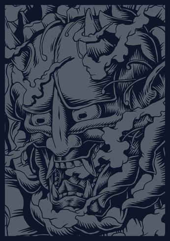 Mão desenhada Oni japonês criatura ilustração