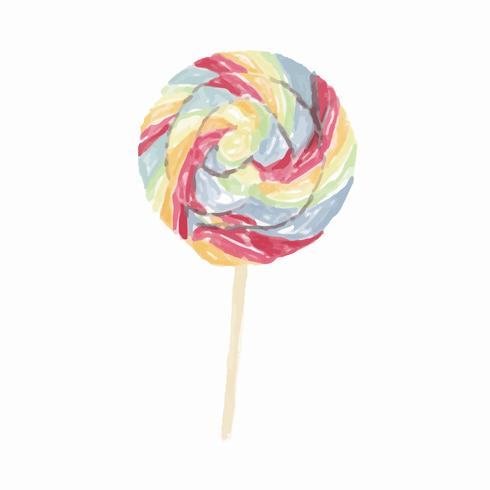 Hand drawn lollipop watercolor style
