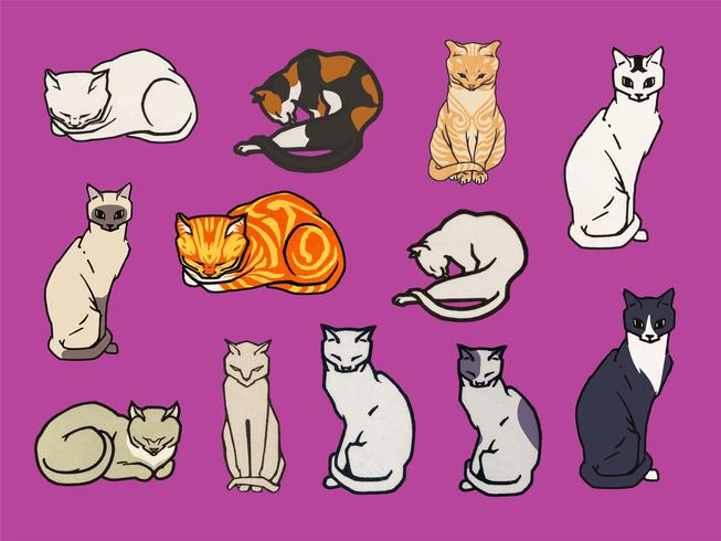 Set of cats. Elements from the public domain, modified by rawpixel.