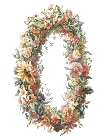 Ilustração Vintage de uma grinalda de flores