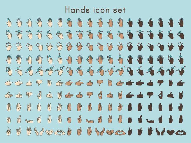 Illustration av handen gest inställd i tunn linje