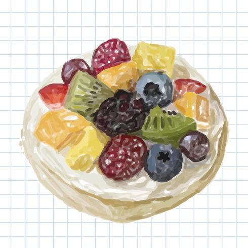 Hand drawn dessert watercolor style