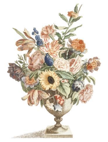 Illustration vintage d'un vase avec des fleurs