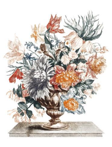 Weinleseillustration eines Steinvase mit Blumen