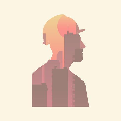 Ilustração, de, human, silueta